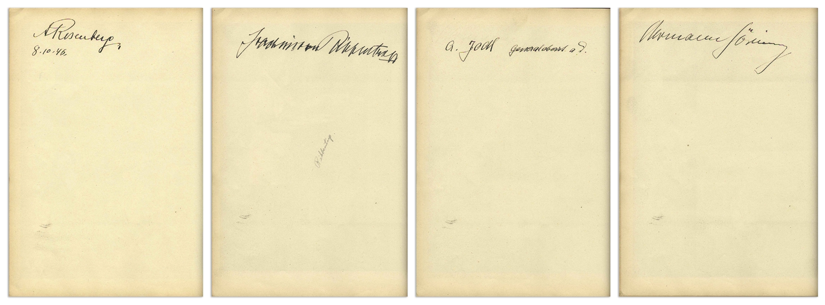 Nuremberg Book Signed by 18 Nazi War Criminals During the WWII Nuremberg Trials -- Includes Signatures by Goring, Donitz, Streicher & Speer, and Also Two ID Cards by U.S. Guard Who Acquired Signatures